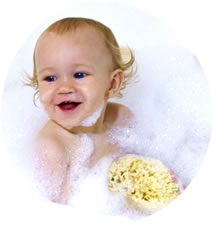 Baby Max loves his natural sea sponge in the bath