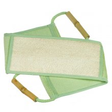 Large Bamboo Fiber & Handled Loofah Back Scrubber and Shower Strap