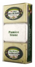 Olive Oil Soap & Pumice Stone Gift Set - 100% Natural & Olive Leaves